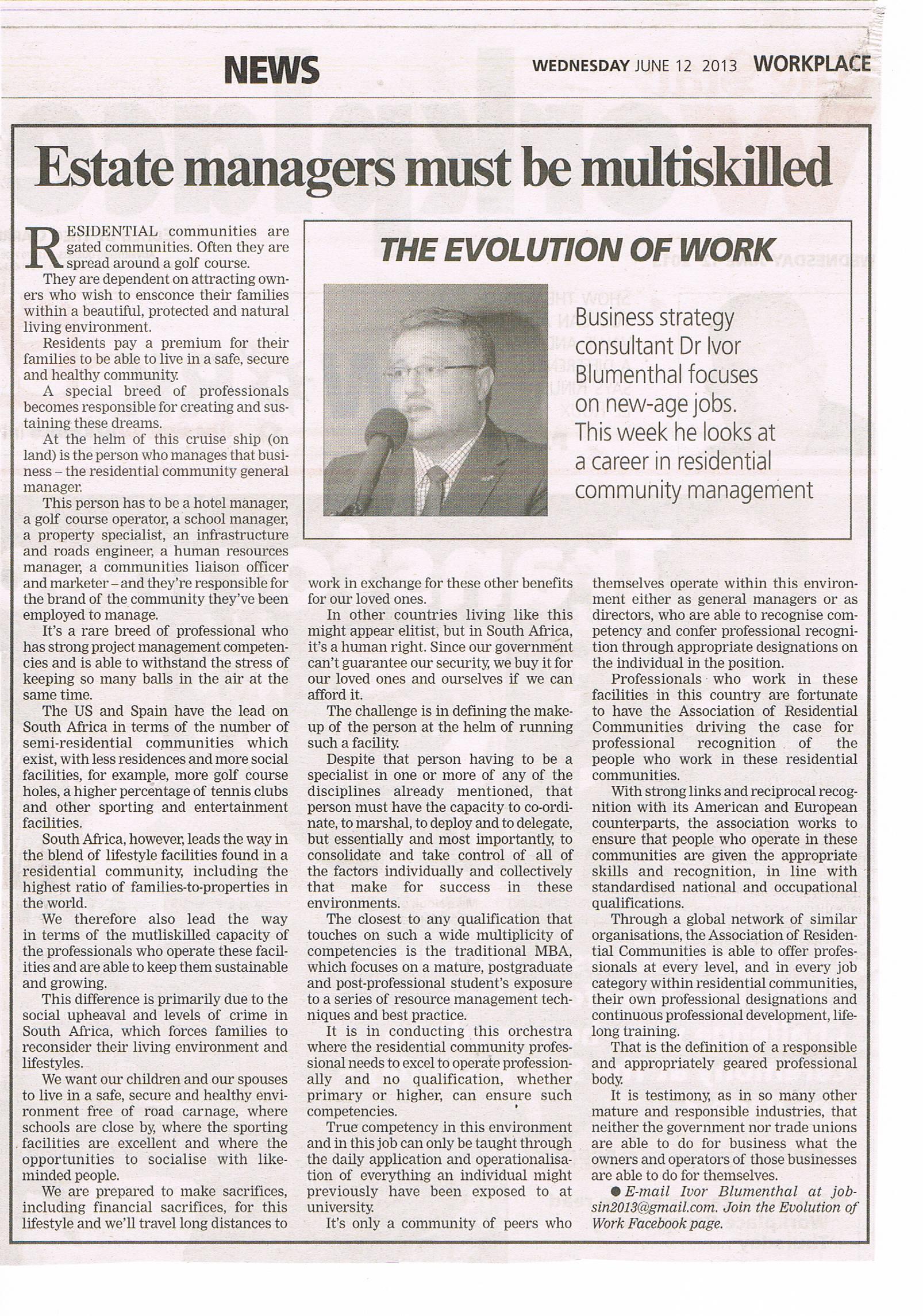 PRESS RELEASE - Estate Managers Must be Multiskilled - Dr Ivor Blumenthal